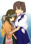 2girls blue_background blue_skirt brown_eyes brown_hair closed_eyes facing_down from_side gradient gradient_background hakama_skirt headband hiryuu_(kantai_collection) iwana japanese_clothes kaga_(kantai_collection) kantai_collection long_hair looking_at_another multiple_girls one_side_up remodel_(kantai_collection) short_hair side_ponytail simple_background skirt tasuki tsurime white_background