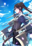 1girl belt black_hair black_skirt blue_sky blurry blurry_background blurry_foreground brown_eyes clouds commentary_request from_side gloves highres juliet_sleeves kantai_collection long_hair long_sleeves nachi_(kantai_collection) pantyhose petals puffy_sleeves remodel_(kantai_collection) rigging sailor_collar side_ponytail skirt sky solo totto_(naka) very_long_hair white_gloves white_legwear