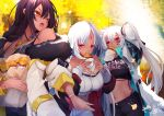 3girls absurdres alabama_(azur_lane) azur_lane bag bangs bare_shoulders belt black_hair black_jacket black_pants bodypaint bracelet braid clothes_writing coat commentary_request crop_top dark_skin dated day eating facepaint facial_mark feathers food forehead_mark fur_trim ginkgo_leaf hair_feathers highres holding holding_food huge_filesize jacket jewelry long_hair long_sleeves massachusetts_(azur_lane) midriff mouth_hold multiple_girls native_american navel necklace open_mouth outdoors pants red_eyes reku_hisui ribbon_trim sidelocks signature silver_hair sleeves_past_wrists south_dakota_(azur_lane) sweet_potato tan twintails very_long_hair watch watch white_coat white_hair white_pants yellow_background yellow_belt yellow_eyes