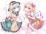 2girls :o bangs black_headwear blonde_hair bow bowtie breasts brooch checkered checkered_floor chestnut_mouth commentary_request crystal eyebrows_visible_through_hair flandre_scarlet floral_print frilled_shirt_collar frills green_eyes green_hair green_nails green_skirt hair_between_eyes hat hat_bow hayu_(hayu_e) heart heart_of_string highres jewelry komeiji_koishi long_sleeves looking_at_viewer multiple_girls nail_polish one_side_up parted_lips petticoat pinky_out pointy_ears puffy_short_sleeves puffy_sleeves red_bow red_skirt red_vest seiza shirt short_hair short_sleeves sitting skirt small_breasts star_(symbol) starry_background string string_of_fate thigh_strap third_eye tile_floor tiles touhou vest violet_eyes wide_sleeves wings yellow_bow yellow_neckwear yellow_shirt