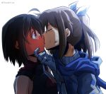 2girls ahoge armor artist_name bangs bare_shoulders black_armor black_hair blue_neckwear blush bob_cut brown_eyes brown_hair closed_eyes commentary_request dirty dirty_face embarrassed from_side full-face_blush gloves hair_ribbon hand_on_another's_chin highres itai_no_wa_iya_nano_de_bougyoryoku_ni_kyokufuri_shitai_to_omoimasu kiss looking_at_another maple_(bofuri) medium_hair multiple_girls ponytail ribbon sally_(bofuri) scarf short_hair simple_background surprised thai_commentary thunder_line white_background white_ribbon yuri