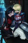 2girls armor armored_dress artoria_pendragon_(all) bdsm black_hair blonde_hair blue_eyes bondage bound fate/stay_night fate_(series) gag green_eyes highres improvised_gag long_hair md5_mismatch multiple_girls pleated_skirt saber sharpffffff shibari skirt tape tape_bondage tape_gag thigh-highs toosaka_rin zettai_ryouiki