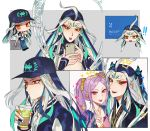 ahoge bare_chest baseball_cap black_hair casual cellphone contemporary eyeshadow fate/grand_order fate_(series) fingernails hat long_fingernails long_hair makeup male_focus multicolored_hair phone purple_hair qin_shi_huang_(fate/grand_order) red_eyes sindri smartphone sparkle twintails two-tone_hair v very_long_hair violet_eyes white_hair wu_zetian_(fate/grand_order)