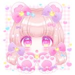 1girl :o animal_ears bangs bear_ears blue_bow blush bow brown_hair commentary_request eyebrows_visible_through_hair frilled_bow frills gloves hair_bow heart himetsuki_luna long_hair looking_at_viewer open_mouth original paw_gloves paws pink_bow plaid plaid_background purple_bow red_eyes solo symbol-shaped_pupils white_bow yume_kawaii