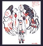 1boy absurdres animal_ears braid chinese_clothes claws dated hair_ornament hairclip hands_together high_heels highres macchoko male_focus mecha mismatched_legwear mismatched_nail_polish one_eye_covered original red_eyes see-through_sleeves short_hair sketch smile tail tassel thigh_strap translation_request white_hair