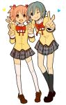 2girls ;) black_legwear black_skirt blue_eyes blue_hair blush brown_footwear closed_mouth dot_nose double_v eyebrows_visible_through_hair full_body furrowed_eyebrows hair_ornament hair_ribbon hairclip hands_up happy heart kaname_madoka legs_apart loafers looking_at_viewer mahou_shoujo_madoka_magica miki_sayaka mitakihara_school_uniform multiple_girls neck_ribbon one_eye_closed open_mouth pink_eyes pink_hair plaid plaid_skirt pleated_skirt red_ribbon ribbon school_uniform shibainu_(pom_pomta) shoes side-by-side simple_background skirt smile socks standing thigh-highs twintails uniform v white_background white_legwear zettai_ryouiki