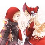 1girl bangs belt blonde_hair blunt_bangs bonnet brown_belt cape closed_eyes closed_mouth dress eyebrows_visible_through_hair fire flower hat hat_flower highres holding_hands hood hood_up hooded_cape juliet_sleeves little_red_riding_hood_(sinoalice) long_hair long_sleeves looking_at_another multiple_persona orange_eyes puffy_sleeves red_cape red_dress red_flower red_headwear red_hood red_rose ribbon rico_tta rose sidelocks simple_background sinoalice solo standing victorian wavy_hair white_background white_flower white_ribbon white_rose wide_sleeves