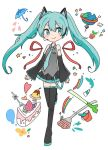 1girl aqua_eyes aqua_hair aqua_neckwear boots bucket cake cherry commentary detached_sleeves food fork fruit globe hatsune_miku headset heart leg_up letter long_hair mikan_(mikabe) necktie paintbrush plant potted_plant puddle sapling skirt solo spring_onion star strawberry thigh-highs thigh_boots twintails umbrella vocaloid