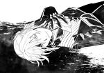 1boy antonio_salieri_(fate/grand_order) fate/grand_order fate_(series) formal gloves greyscale hands_on_own_chest looking_at_viewer lying male_focus monochrome pinstripe_suit sindri solo striped suit upper_body