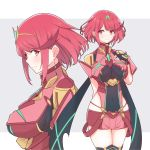 1girl bangs breasts cowboy_shot earrings eyebrows_visible_through_hair fingerless_gloves gem gloves headpiece highres homura_(xenoblade_2) jewelry large_breasts looking_at_viewer mochimochi_(xseynao) multiple_views red_eyes redhead short_hair short_shorts shorts smile swept_bangs tiara xenoblade_(series) xenoblade_2