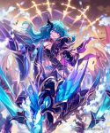 1girl armor bangs blue_eyes blue_hair dragon dragon_riding facial_mark floating floating_object gauntlets hair_between_eyes hair_ornament highres lee_hyeseung long_hair midriff navel official_art open_mouth pauldrons shingeki_no_bahamut solo