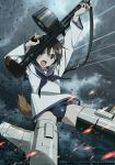 >:o 1girl animal_ears arms_up black_neckwear black_school_swimsuit black_swimsuit brown_hair clouds cloudy_sky commentary_request dark_clouds dog_ears dog_tail dress drum_magazine dust_particles embers flying grey_sailor_collar grey_sky gun highres holding holding_gun holding_weapon key_visual long_sleeves machine_gun miyafuji_yoshika neckerchief official_art open_mouth sailor_collar sailor_dress school_swimsuit school_uniform short_hair sky solo strap strike_witches striker_unit swimsuit swimsuit_under_clothes tail trigger_discipline weapon white_serafuku wind world_witches_series