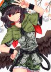 1girl absurdres alternate_costume alternate_headwear black_hair black_wings black_wristband camouflage camouflage_headwear camouflage_shirt camouflage_shorts flower frilled_shorts frills googles highres looking_at_viewer pom_pom_(clothes) red_eyes shameimaru_aya shirokaba114 short_hair shorts simple_background solo touhou touhou_cannonball v wings