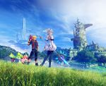 1boy 1girl 3d absurdres blue_eyes day grass head_wings highres holding holding_staff jacket melia monado nopon official_art outdoors red_jacket scenery shulk silver_hair smile staff xenoblade_(series) xenoblade_1