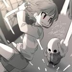 1boy 1other artist_name bangs black_shorts bone chara_(undertale) commission cowboy_shot dated dutch_angle full_body grey_hair grey_hoodie grey_shirt grey_shorts highres holding holding_knife holding_weapon hood hoodie knife leftporygon long_sleeves looking_at_another medium_hair midair multicolored_shirt open_clothes open_hoodie parted_lips red_eyes sans sepia shirt shorts skeb_commission skull slippers smile stained_glass turtleneck undertale weapon white_shirt