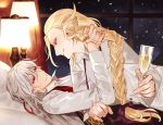 2boys antonio_salieri_(fate/grand_order) blonde_hair bow braid champagne_flute cup drinking_glass fate/grand_order fate_(series) green_eyes grey_hair hair_bow long_hair male_focus multiple_boys on_bed red_eyes sindri snowing window wolfgang_amadeus_mozart_(fate/grand_order) yaoi