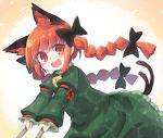 1girl animal_ear_fluff animal_ears bangs bell black_bow blunt_bangs bow braid cat_day cat_ears cat_tail commentary dress frills green_dress hair_bow juliet_sleeves kaenbyou_rin kibisake long_hair long_sleeves looking_at_viewer multiple_tails open_mouth outstretched_arms pointy_ears puffy_sleeves pushing red_eyes redhead slit_pupils smile solo tail touhou twin_braids twintails two_tails upper_body