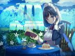 1girl apron black_hair blue_butterfly blue_dress blue_eyes blue_sky blurry blurry_background blurry_foreground blush book breasts bug butterfly cake chair clouds commentary cup day depth_of_field dress expressionless flower food fork fountain fruit hand_in_hair head_tilt hedge_(plant) holding holding_book hourglass insect juliet_sleeves kanata_(harukakanatan) long_sleeves looking_at_viewer maid maid_apron maid_headdress medium_breasts neck_ribbon open_book original outdoors plate puffy_sleeves rainbow red_neckwear ribbon saucer short_hair shortcake sitting sky slice_of_cake solo sparkle strawberry table tablecloth teacup tree wooden_chair
