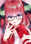 1girl absurdres alternate_costume apple_inc. apple_print bangs blue_eyes blunt_bangs blush breasts cellphone collarbone commentary_request eyebrows_visible_through_hair glasses go-toubun_no_hanayome hair_ornament hair_ribbon highres himecoe jacket long_hair looking_at_viewer nakano_nino phone pink_hair red_jacket redhead ribbon shirt smartphone solo tongue tongue_out twintails white_shirt