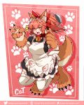 /\/\/\ 1girl absurdres animal_ear_fluff animal_ears apron bell bell_collar breasts cat_paws collar commentary demonx20 deviantart_username fangs fate/grand_order fate_(series) fox_ears fox_girl fox_tail gloves hair_ribbon highres holding_ladle huge_filesize jingle_bell ladle large_breasts long_hair open_mouth paw_gloves paw_shoes paws pink_hair ponytail red_ribbon ribbon shoes solo tail tamamo_(fate)_(all) tamamo_cat_(fate) tumblr_username twitter_username white_legwear yellow_eyes