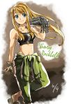 1girl arm_at_side arm_support automail bare_arms bare_shoulders blonde_hair blue_eyes blush breasts carrying_over_shoulder character_name closed_mouth clothes_around_waist collarbone crop_top dated eyebrows_visible_through_hair feet_out_of_frame floating_hair fullmetal_alchemist gloves gradient gradient_background green_pants grey_background grey_gloves happy high_ponytail leaning long_hair looking_to_the_side medium_breasts midriff navel pants ponytail riarashu sandals shaded_face shiny shiny_hair sidelocks simple_background smile solo standing standing_on_one_leg white_background winry_rockbell zipper