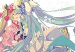 2girls aqua_hair blue_bow blue_dress blue_nails bow cherry_blossoms cherry_hair_ornament closed_eyes commentary dress dress_bow dual_persona floral_background floral_print flower food_themed_hair_ornament green_hair hair_bow hair_flower hair_ornament hands_together hatsune_miku japanese_clothes kimono multiple_girls nail_polish open_mouth pink_kimono smile symbol_commentary upper_body vocaloid white_background yoshiki