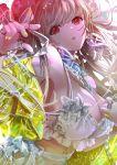 1girl alternate_costume azur_lane blush bra breasts chain collar double_bun eyebrows_visible_through_hair formidable_(azur_lane) grey_hair hair_ribbon highres hirose_(10011) jacket jewelry large_breasts long_hair looking_at_viewer nail_polish red_eyes ribbon ring solo thumb_ring twintails underwear white_bra yellow_jacket yellow_nails