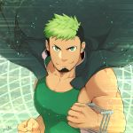 1boy abs bara beard chest clenched_hands dark_skin facial_hair green_eyes green_tank_top highres jacket_on_shoulders looking_at_viewer male_focus multicolored_hair muscle pectorals simple_background smile solo taurus_mask tokyo_houkago_summoners upper_body wrestling_outfit zifuuuun