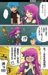1boy 1girl blue_eyes blue_hair blush highres kamijou_tatsuhisa kirishima_romin pink_hair raijin-bh red_eyes translation_request yuu-gi-ou yuu-gi-ou_sevens