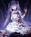 1girl :d bangle bangs bare_shoulders black_ribbon blood bloody_clothes bloody_hands bracelet breasts bridal_gauntlets commentary_request dress eyebrows_visible_through_hair fate/hollow_ataraxia fate_(series) frilled_dress frilled_hairband frills hair_between_eyes hairband hand_up head_tilt highres jewelry layered_dress long_hair looking_at_viewer open_mouth purple_hair ribbon single_bridal_gauntlet small_breasts smile solo stheno strapless strapless_dress twintails twitter_username very_long_hair violet_eyes white_dress white_hairband yuuki_kira