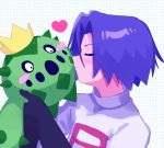 1boy 2ameyasan2 blush blush_stickers cacnea closed_eyes dots gen_3_pokemon gloves heart highres holding holding_pokemon kojirou_(pokemon) pokemon pokemon_(anime) pokemon_(creature) purple_hair team_rocket team_rocket_uniform