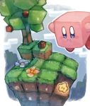 apple commentary_request day floating flower food fruit grass kirby kirby_(series) minecraft no_humans outdoors shiburingaru star tree