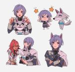 1boy 1girl animal_ears closed_mouth crossed_arms dark_skin doubutsu_no_mori fire_emblem fire_emblem:_three_houses garreg_mach_monastery_uniform grey_background hapi_(fire_emblem) highres long_sleeves multiple_views open_mouth pikapika_hoppe purple_hair red_eyes redhead short_hair simple_background smile uniform violet_eyes wolf_ears yuri_(fire_emblem)