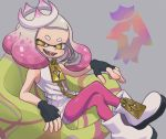 +_+ 1girl ankle_boots armchair black_gloves boots brown_eyes chair chinobosh crossed_legs crown domino_mask dress emblem fingerless_gloves gloves gradient_hair grey_background highres hime_(splatoon) looking_at_viewer mask medium_hair mole mole_under_mouth multicolored_hair open_mouth pantyhose pink_hair pink_legwear short_dress shorts shorts_under_dress sitting sleeveless sleeveless_dress smile solo splatoon_(series) splatoon_2 tentacle_hair white_dress white_footwear white_hair white_headwear white_shorts zipper_pull_tab