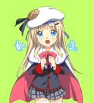 1girl blonde_hair blue_eyes bow cape cowboy_shot fang green_background little_busters! long_hair looking_at_viewer noumi_kudryavka open_mouth pink_bow plaid plaid_skirt satomi_yoshitaka school_uniform simple_background skirt smile solo thigh-highs white_legwear