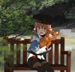 1girl annin_musou belt bench black_belt black_bow black_footwear black_gloves black_headwear black_skirt blue_shawl boots bow brown_eyes brown_hair brown_legwear commentary_request fingerless_gloves full_body gloves hair_bow jacket kantai_collection long_hair low_twintails misha_(mascot) pantyhose papakha red_shirt ribbon_trim scarf shirt shoe_soles sitting skirt smile solo stuffed_animal stuffed_toy tashkent_(kantai_collection) teddy_bear thigh-highs thigh_boots torn_scarf twintails untucked_shirt white_jacket white_scarf