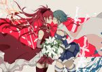 2girls absurdres akari_(qq941315189) bare_shoulders beige_background belt black_ribbon blue_hair blue_skirt bouquet breasts cape closed_eyes closed_mouth cowboy_shot detached_sleeves expressionless eyebrows_visible_through_hair eyelashes floating_hair flower flower_request fortissimo fortissimo_hair_ornament from_side hair_between_eyes hair_ornament hair_ribbon hairclip high_collar high_ponytail highres holding holding_bouquet leaf long_hair mahou_shoujo_madoka_magica medium_breasts miki_sayaka multiple_girls noses_touching pink_background pleated_skirt ponytail profile red_legwear redhead ribbon sakura_kyouko shaded_face short_hair sideboob simple_background skirt sleeveless small_breasts soul_gem standing strapless striped striped_background sword thigh-highs weapon white_cape white_flower white_legwear yuri zettai_ryouiki
