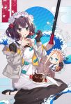 2girls abigail_williams_(fate/grand_order) absurdres apron bangs black_dress black_footwear black_gloves black_skirt blonde_hair blue_eyes blush braid breasts broom cake chibi chocolate_cake dress egasumi fate/grand_order fate_(series) food forehead fork french_braid fruit gloves grey_jacket hair_ornament hairpin heroic_spirit_festival_outfit highres jacket katsushika_hokusai_(fate/grand_order) layered_skirt long_hair long_sleeves looking_at_viewer maid maid_headdress medium_breasts multiple_girls open_clothes open_jacket open_mouth parted_bangs plate roti sidelocks single_glove sitting skirt sleeves_past_fingers sleeves_past_wrists strawberry stuffed_animal stuffed_toy teddy_bear tokitarou_(fate/grand_order) violet_eyes wariza waves white_apron white_dress