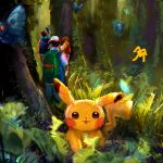 3boys absurdres backpack bag blue_backpack blue_jacket brown_hair brown_pants butterfree denim denim_shorts forest frying_pan gen_1_pokemon gen_2_pokemon green_backpack hat highres huge_filesize jacket jeans kasumi_(pokemon) leaf looking_at_viewer looking_away marthhh moss multiple_boys nature orange_hair orange_jacket pants pikachu plant pokemon red_backpack red_headwear redhead satoshi_(pokemon) shirt short_hair shorts signature sparkle symbol_commentary takeshi_(pokemon) tank_top togepi tree walking white_headwear white_shirt yellow_tank_top