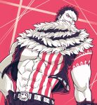 abs bare_chest belt charlotte_katakuri chest covered_mouth gloves hand_on_hip highres living_(pixiv5031111) male_focus muscle one_piece open_clothes open_vest pants scar scarf scarf_over_mouth simple_background spikes stitches tattoo vest