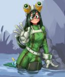 1girl 1other asui_tsuyu belt black_eyes black_footwear bodysuit boku_no_hero_academia boots breasts crossover frog_girl gen_8_pokemon gloves goggles goggles_on_head green_bodysuit hair_rings harness hiding highres kelvin_hiu large_breasts lily_pad long_hair low-tied_long_hair partially_submerged pokemon pokemon_(creature) pokemon_(game) pokemon_swsh sobble solo_focus thigh-highs thigh_boots tongue trait_connection wading water waving wet wet_clothes white_gloves