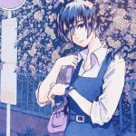 1girl bag belt collared_shirt commentary_request earrings flower hair_over_one_eye jewelry leaf limited_palette looking_at_viewer original parted_lips purple_bag shadow shirt short_hair shoulder_bag solo tami_yagi upper_body white_shirt