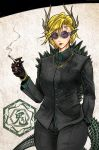 1girl alternate_costume animal_ears animal_print antlers black_gloves black_pants black_suit blonde_hair bracelet cigarette commentary_request cowboy_shot dragon_ears dragon_girl dragon_tail ear_piercing earrings facial_mark forehead_mark forehead_tattoo formal glasses gloves gold_bracelet green_shirt hand_in_pocket highres jewelry kicchou_yachie lipstick looking_at_viewer mafia makeup necklace pants piercing pointy_ears ring ryuuichi_(f_dragon) serious shell shirt short_hair smoking solo spiked_shell spiked_tail suit sunglasses tail touhou turtle_print undershirt yellow_eyes