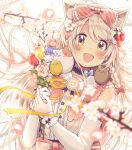 1girl :d animal animal_ear_fluff animal_ears animal_on_shoulder bangs bear bird blue_bow blue_flower blurry blurry_foreground blush bouquet bow braid brown_eyes brown_hair cat cat_ears chick commentary_request depth_of_field detached_sleeves diagonal-striped_bow diagonal_stripes eyebrows_visible_through_hair flower food fruit hair_between_eyes hair_bow hair_ornament hairclip highres holding holding_bouquet long_hair long_sleeves open_mouth original petals pink_bow pink_flower pink_rose red_bow red_flower rose sakura_oriko shirt sleeveless sleeveless_shirt smile solo strawberry striped striped_bow tree_branch tulip upper_body very_long_hair white_flower white_shirt white_sleeves wrist_cuffs yellow_flower