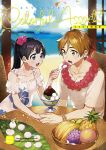 1boy 1girl alternate_costume alternate_hairstyle banana beach black_hair blue_eyes blurry brown_eyes brown_hair collarbone commentary_request couple cover depth_of_field dress feeding floral_print food fruit grapes hetero holding_hands kitashirakawa_tamako lei long_hair mochi momose_(oqo) ooji_mochizou open_mouth orange pineapple ponytail shaved_ice smile sundress tamako_market twintails upper_body white_dress