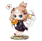 1girl abigail_williams_(fate/grand_order) balloon bangs black_bow black_jacket blonde_hair blue_eyes blush bow butter chibi closed_mouth crossed_bandaids eating eyebrows_visible_through_hair fate/grand_order fate_(series) food fork fou_(fate/grand_order) full_body hair_bow hair_bun heart heroic_spirit_traveling_outfit high_heels highres holding holding_balloon holding_fork jacket koka12312 long_sleeves medjed orange_bow pancake parted_bangs polka_dot polka_dot_bow red_bow red_footwear shoes sleeves_past_fingers sleeves_past_wrists solo spoken_heart white_background
