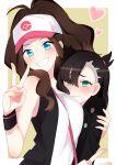 2girls absurdres aqua_eyes baseball_cap between_breasts black_hair blue_eyes blush breasts brown_hair hat heart highres hug jacket long_hair looking_at_viewer mary_(pokemon) multiple_girls neru_(flareuptf1) pokemon pokemon_(game) pokemon_bw pokemon_swsh ponytail shy sleeveless smile strap_between_breasts touko_(pokemon) twintails v wavy_mouth wristband yuri