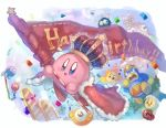 :d birthday birthday_cake blush_stickers cake candle commentary_request crown food happy_birthday holding king_dedede kirby kirby_(series) maxim_tomato open_mouth running shiburingaru smile
