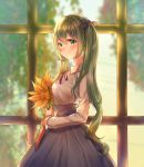 1girl backlighting bangs blurry blurry_background blush bouquet chinese_commentary closed_mouth collared_shirt commentary flower from_side green_eyes green_hair grey_skirt guzangnanfeng hair_between_eyes hair_ribbon hatsune_miku high-waist_skirt highres holding holding_bouquet long_hair long_skirt long_sleeves mixed-language_commentary neck_ribbon purple_ribbon red_ribbon ribbon shiny shiny_hair shirt skirt smile solo standing sunflower twintails very_long_hair vocaloid white_shirt wing_collar yellow_flower