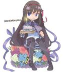 1girl 2014 :/ akemi_homura argyle argyle_legwear black_hair black_legwear blue_flower blue_ribbon cake candle capelet chibi clenched_hand closed_mouth collared_shirt commentary_request dated eyebrows_visible_through_hair fire flat_chest flower food full_body green_flower hair_between_eyes hair_ribbon heart heart_print high_collar holding holding_cake holding_food jitome kennymoney knees_together_feet_apart leaf long_hair long_sleeves mahou_shoujo_madoka_magica no_nose pantyhose pastry patterned_clothing pink_flower pink_rose purple_capelet purple_flower purple_ribbon purple_skirt red_ribbon ribbon rose shiny shiny_skin shirt simple_background sitting skirt solo sparkling_eyes straight_hair sweets violet_eyes white_background white_flower